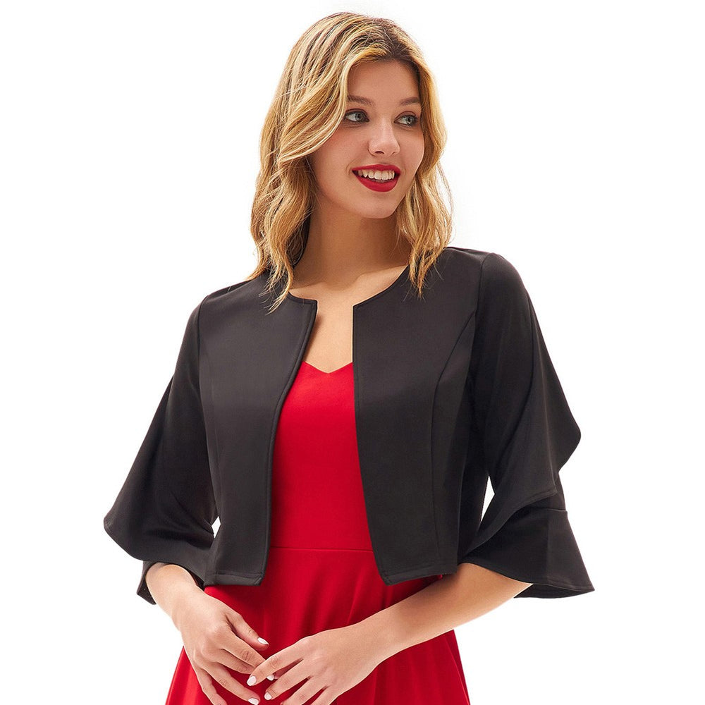 Grace Karin Ruffle Sleeve Open Jacket Tops