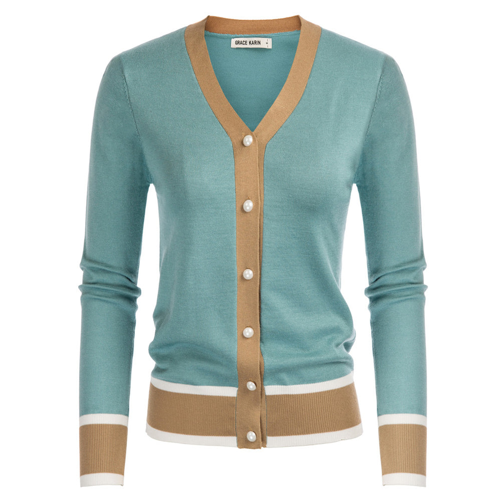 Load image into Gallery viewer, Grace Karin Contrast Color Knitwear Cardigan