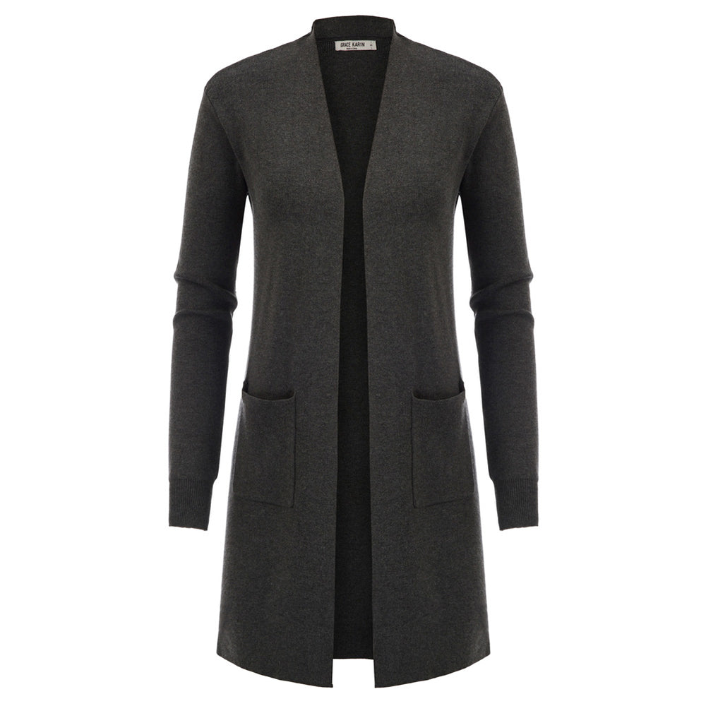 Grace Karin Long Trench Coat Knitwear Cardigan