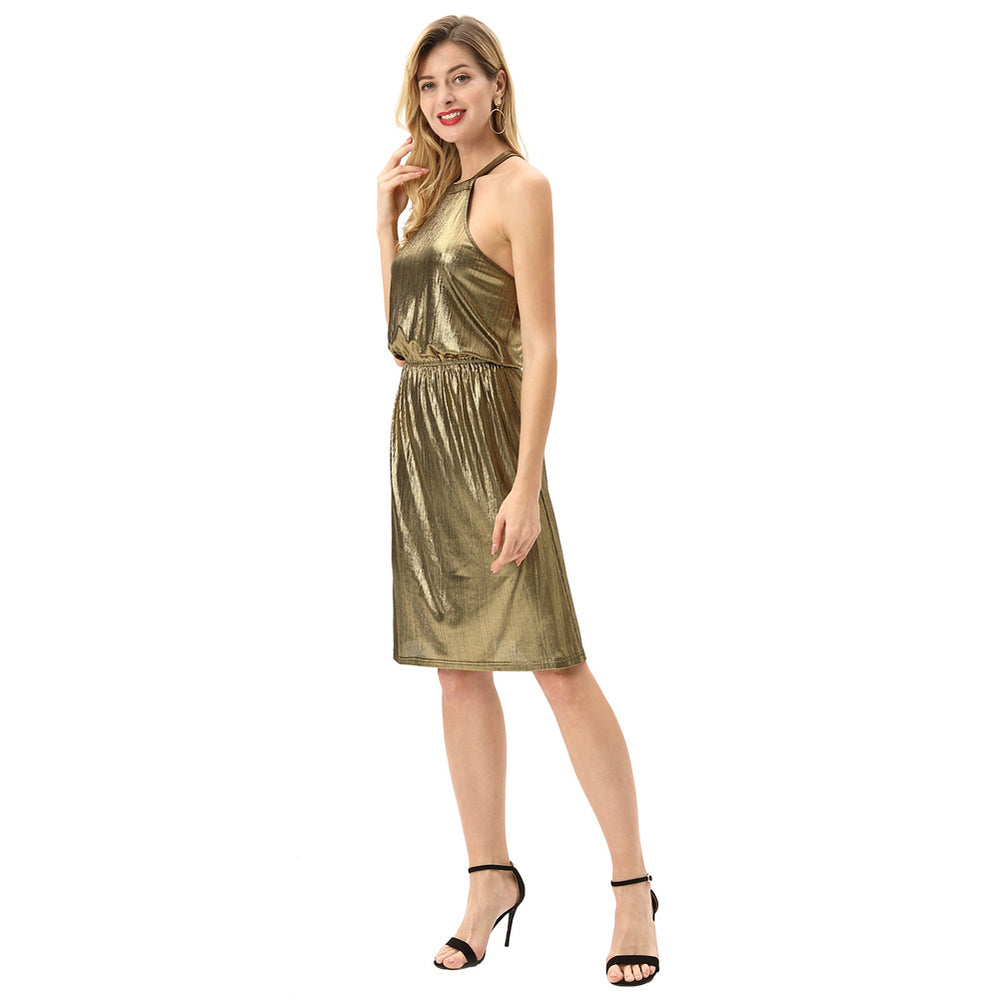 Grace Karin Stretchy A-Line Hater Neck Dress