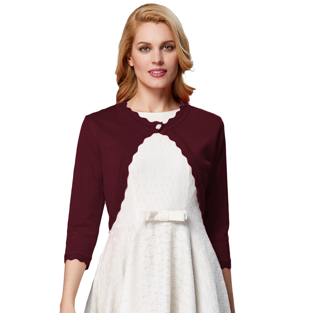 Grace Karin Eyelet Trim One Button Knitted Shrug