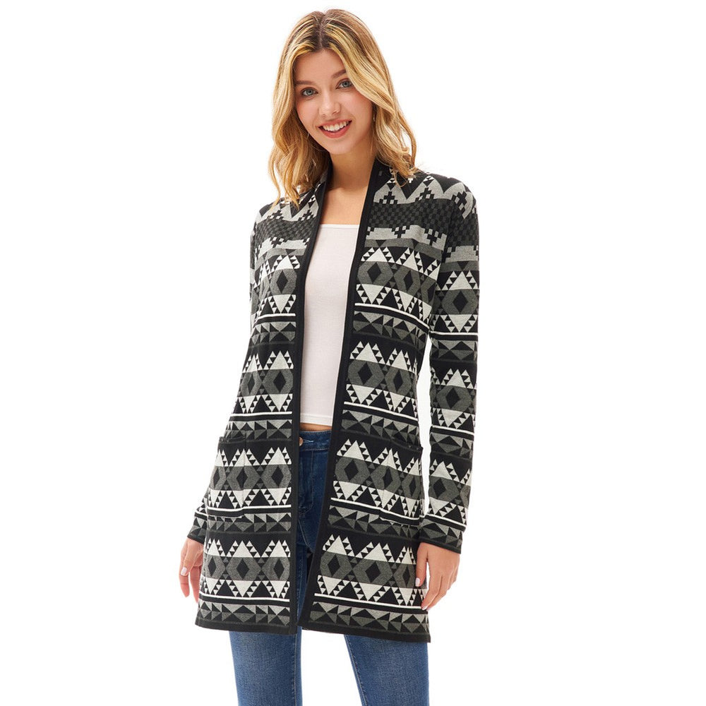 Grace Karin Aztec Pattern Sweater Cardigan