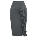 Grace Karin Ruffle Decorated Pencil Skirt