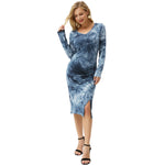 Grace Karin Split Front Tie-Dyed Bodycon Dress