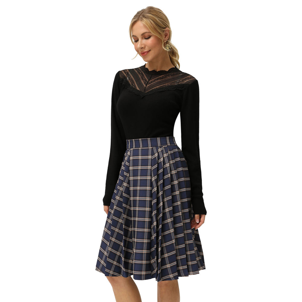 Grace Karin Plaided Elastic High Waist Pleated Skirt