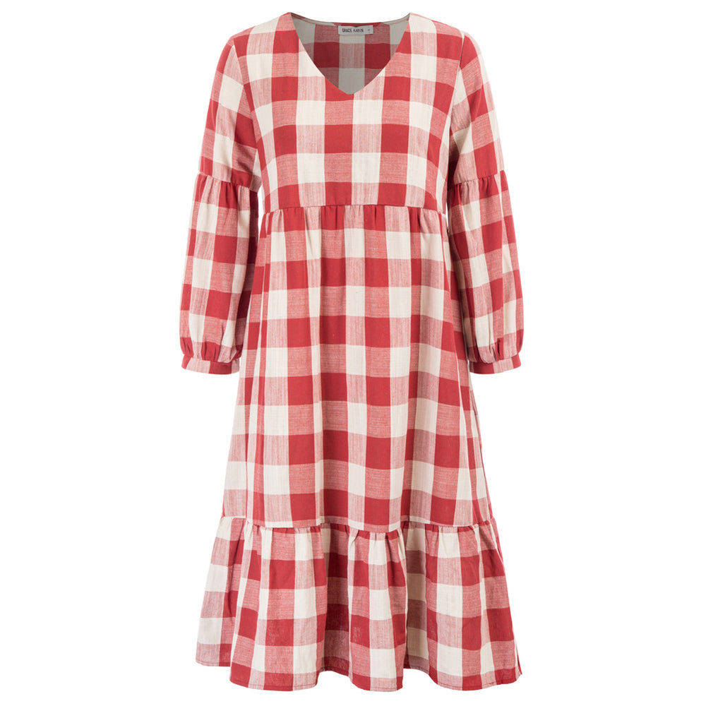 Grace Karin Plaid Loose Fit A-Line Dress