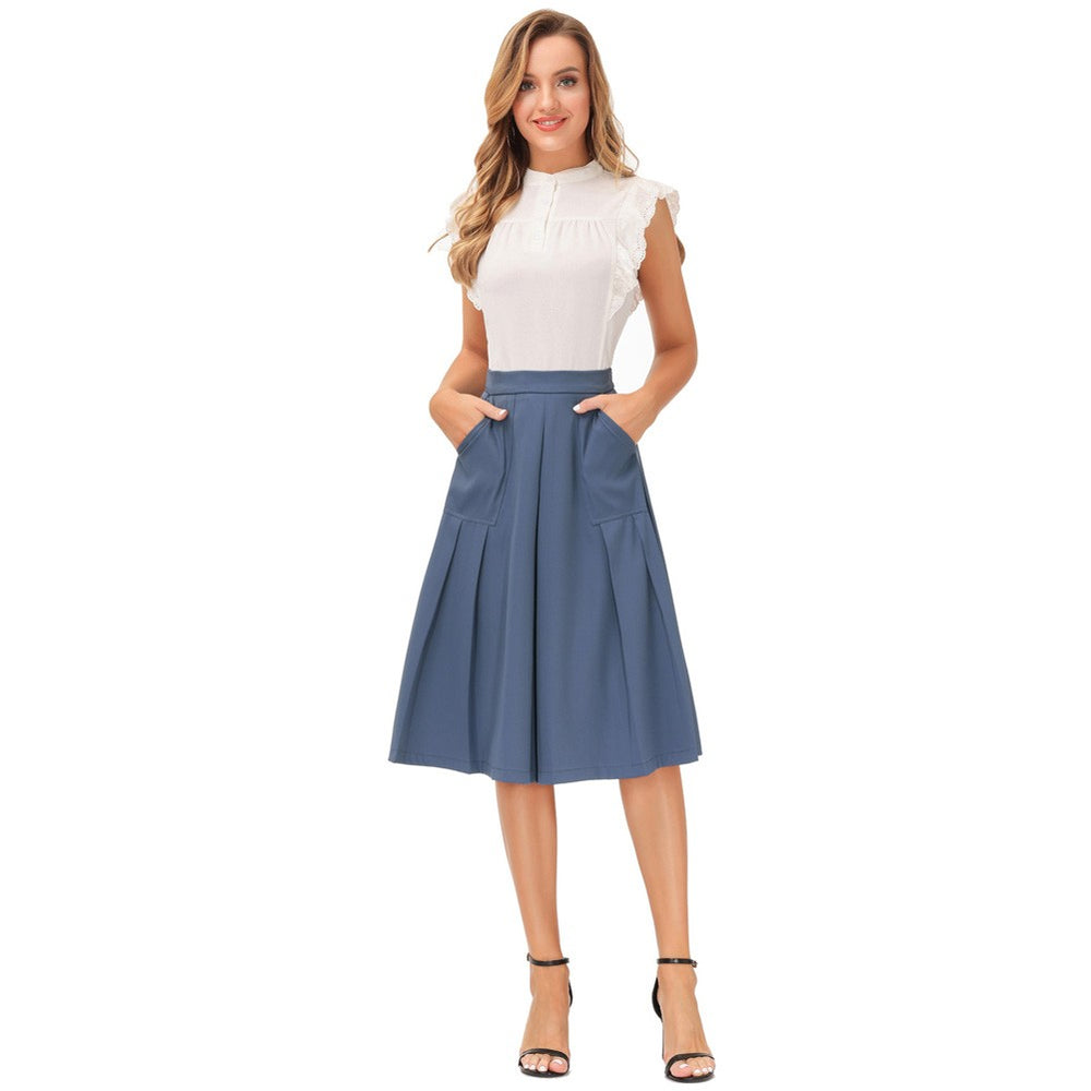 Load image into Gallery viewer, Grace Karin Women High Waist Pleated  Elastic Waist Flared A-Line Skirt