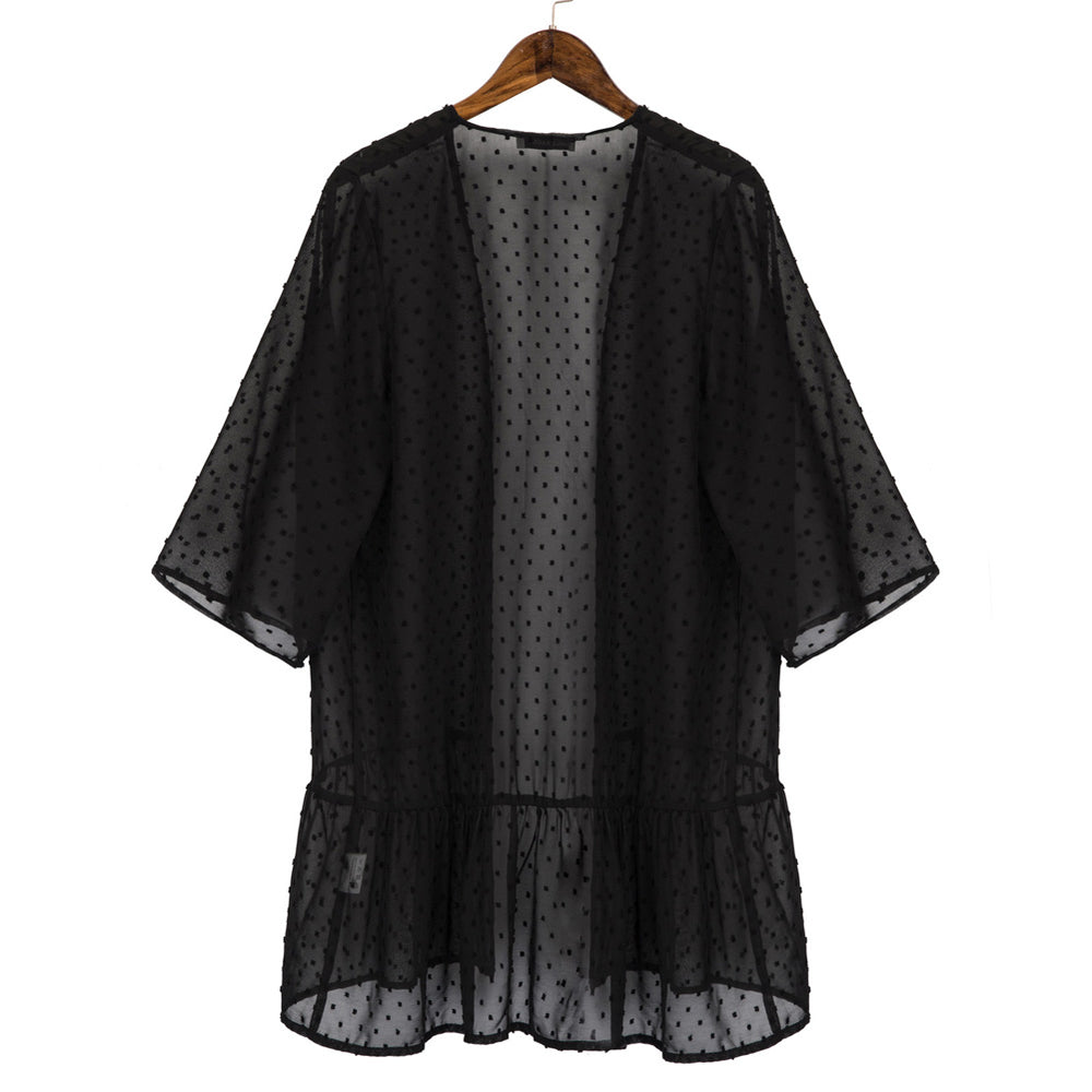Grace Karin Swiss Dot Chiffon Bell Sleeves Cover-up