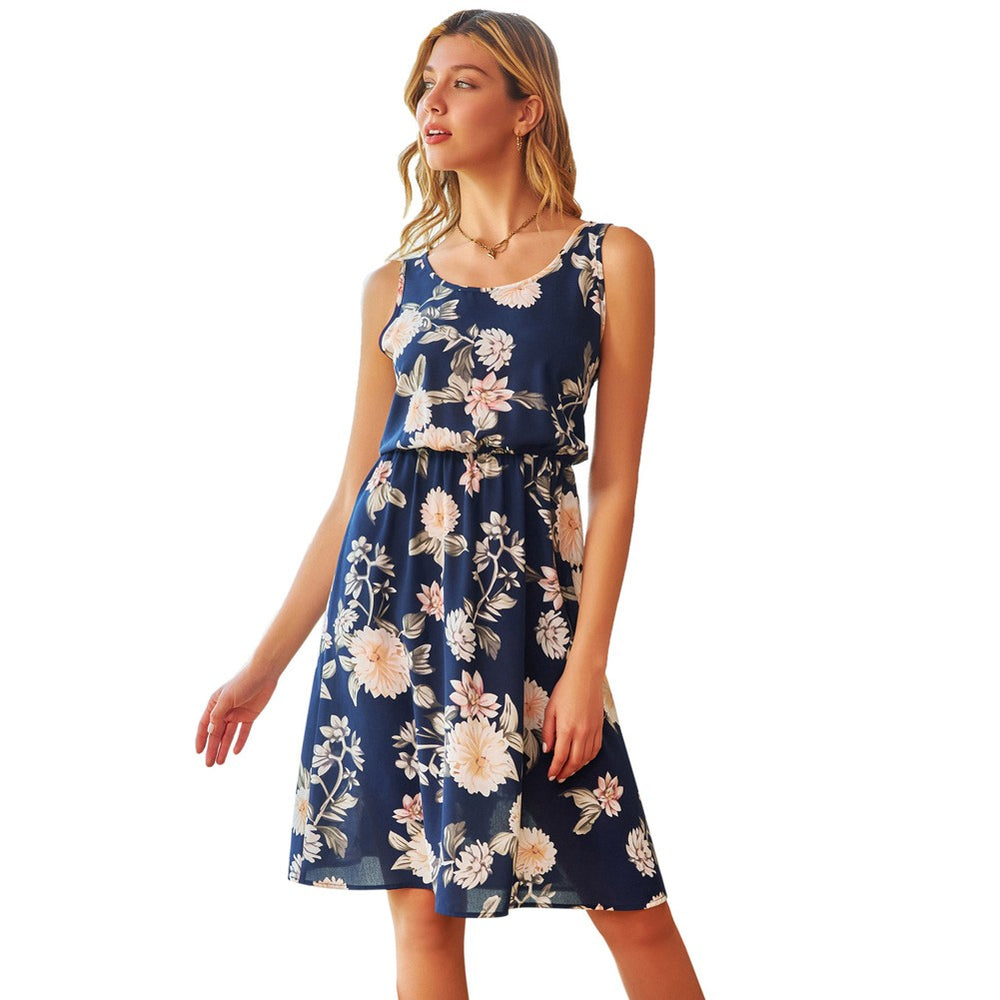 Grace Karin Floral Sleeveless U-Neck Dress