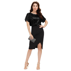 Grace Karin Sequined Short Raglan Sleeves Bodycon