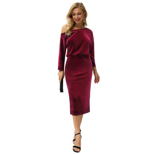 Load image into Gallery viewer, Grace Karin Velvet Asymmetric Neck Bodycon Dress
