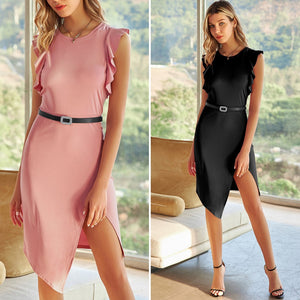Grace Karin Flutter Sleeves With Belt Bodycon Dress
