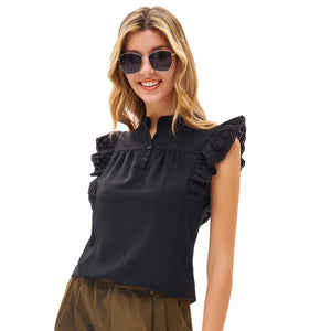 Grace Karin Button-up Flutter Sleeve Tops