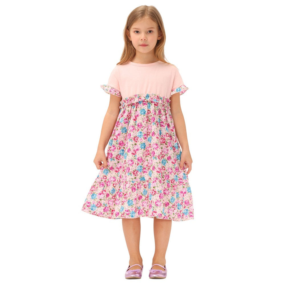 Grace Karin Cotton Patchwork Dress Kids A-Line Dress