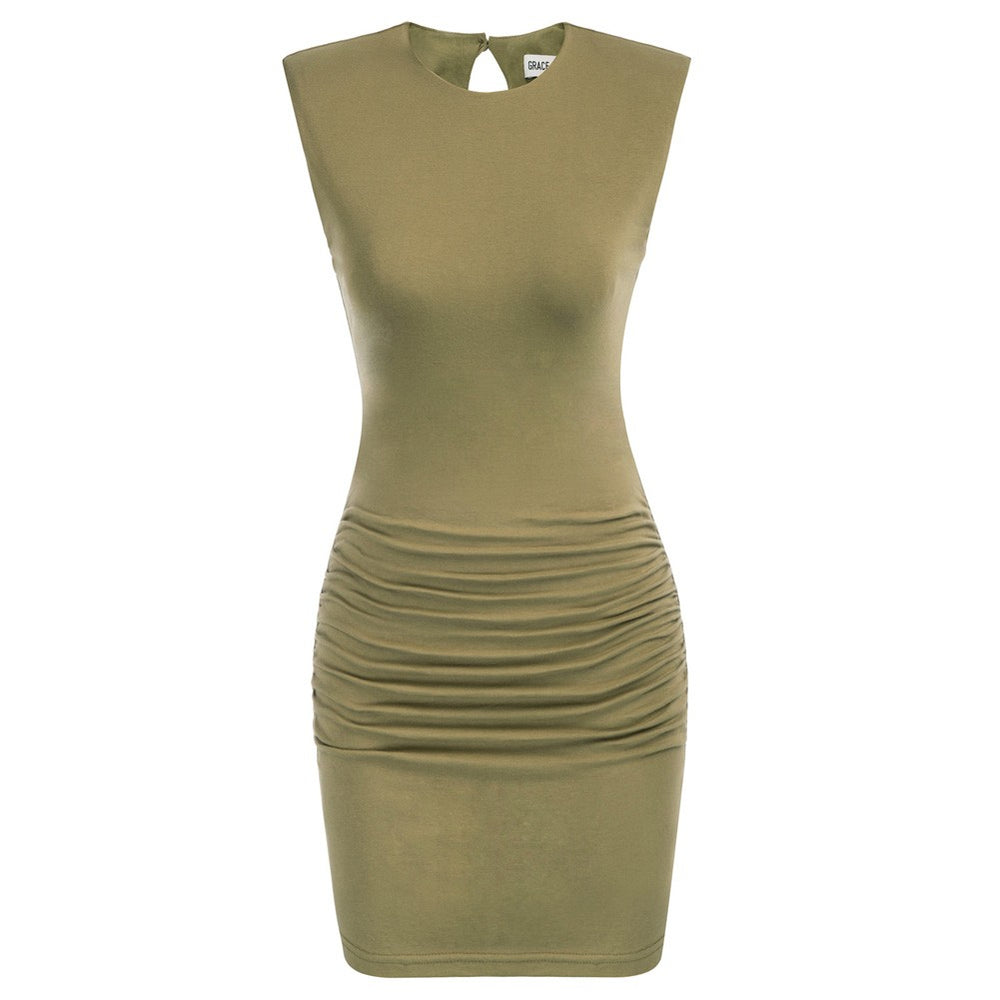 Grace Karin Ruched Padded Shoulders Bodycon