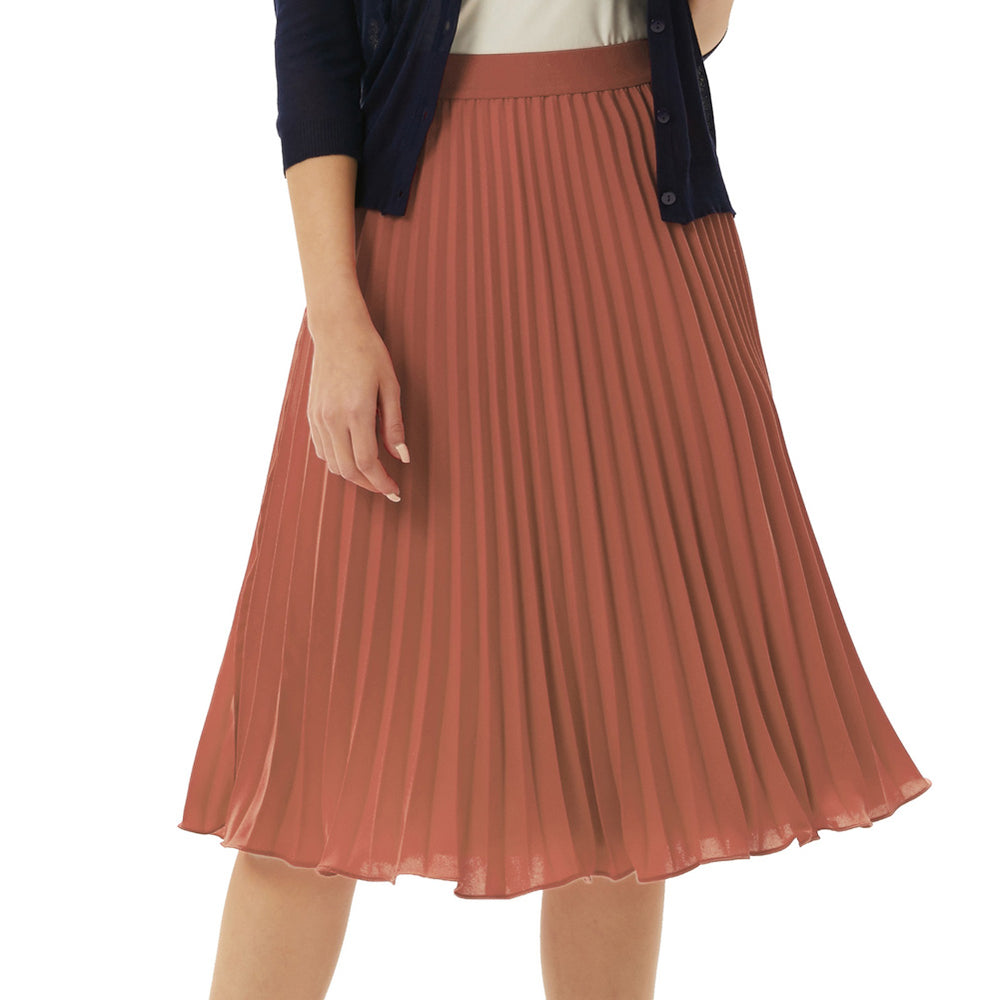 Grace Karin Elastic Waist Solid Color Pleated Skirt