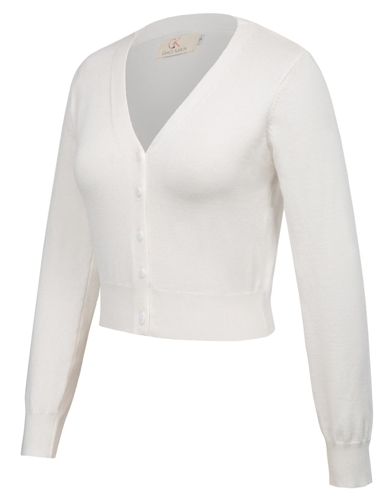 Load image into Gallery viewer, Grace Karin Point Sleeve Cropped Cotton Cardigan