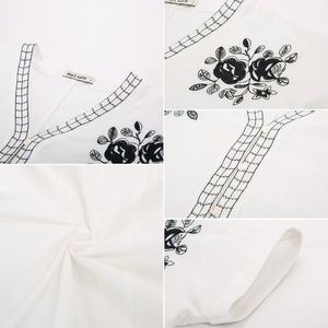 Grace Karin Embroidery Cotton T Shirt