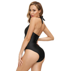 Grace Karin Plunging One-Piece Sash Decorated Bathing Suit