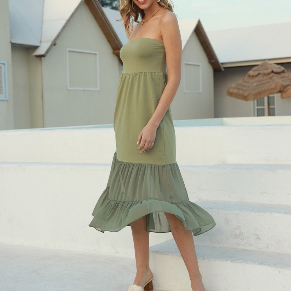 Grace Karin Chiffon Patchwork Tiered Long Dress