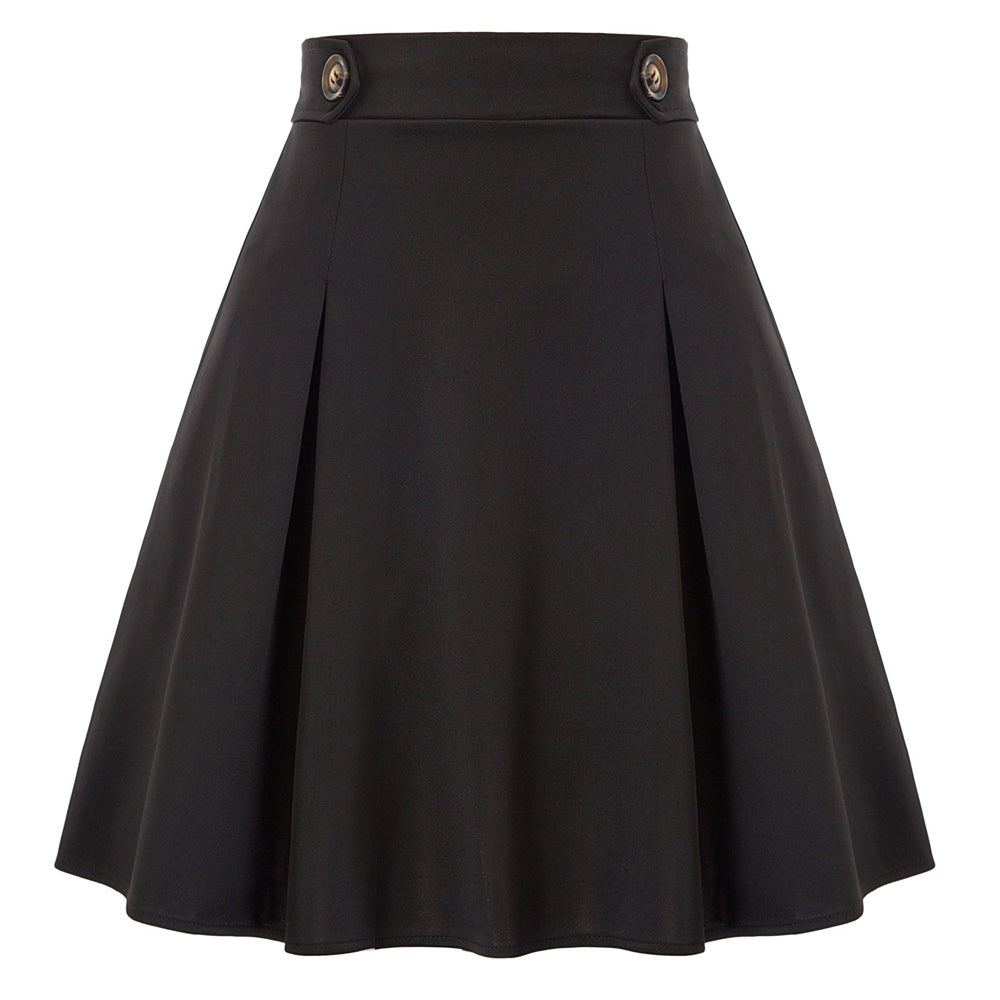 Grace Karin Flared Elastic Waist Pleated Skirt