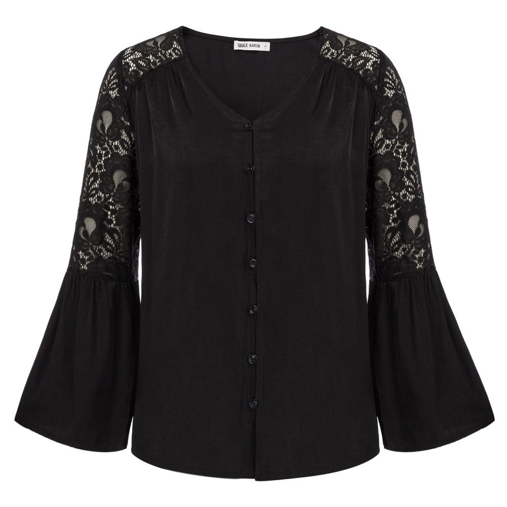 Grace Karin Lace Patchwork Button Blouse