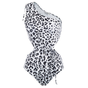 Grace Karin Women Leopard Print One-Piece One Shoulder Swimwear