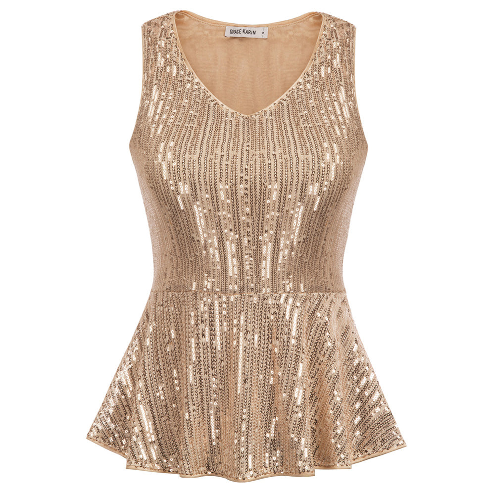 Grace Karin Sequined Peplum Hem Sleeveless Tops