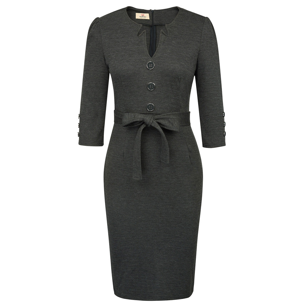 Grace Karin 3/4 Sleeve Button Decorated Bodycon