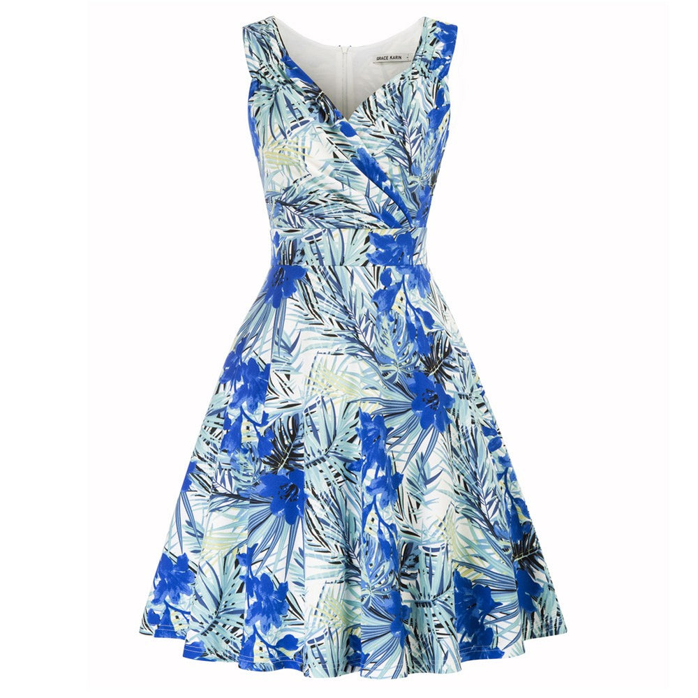 Grace Karin Sleeveless Floral Pattern Dress