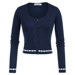Grace Karin Button Placket  Cropped Cardigan