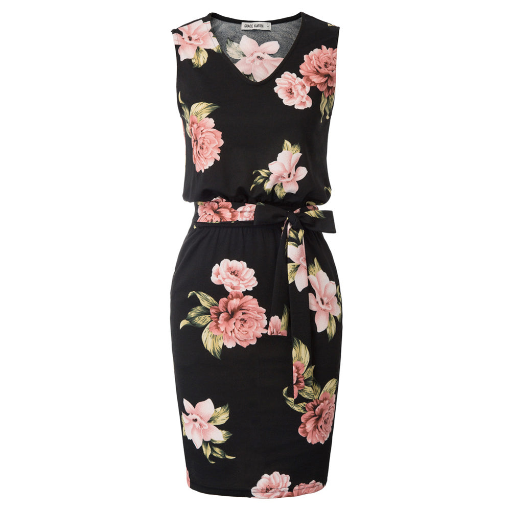 Grace Karin Floral Pattern Pegged Dress