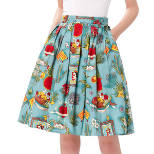 Grace Karin Retro Floral Cotton Pleated Skirt