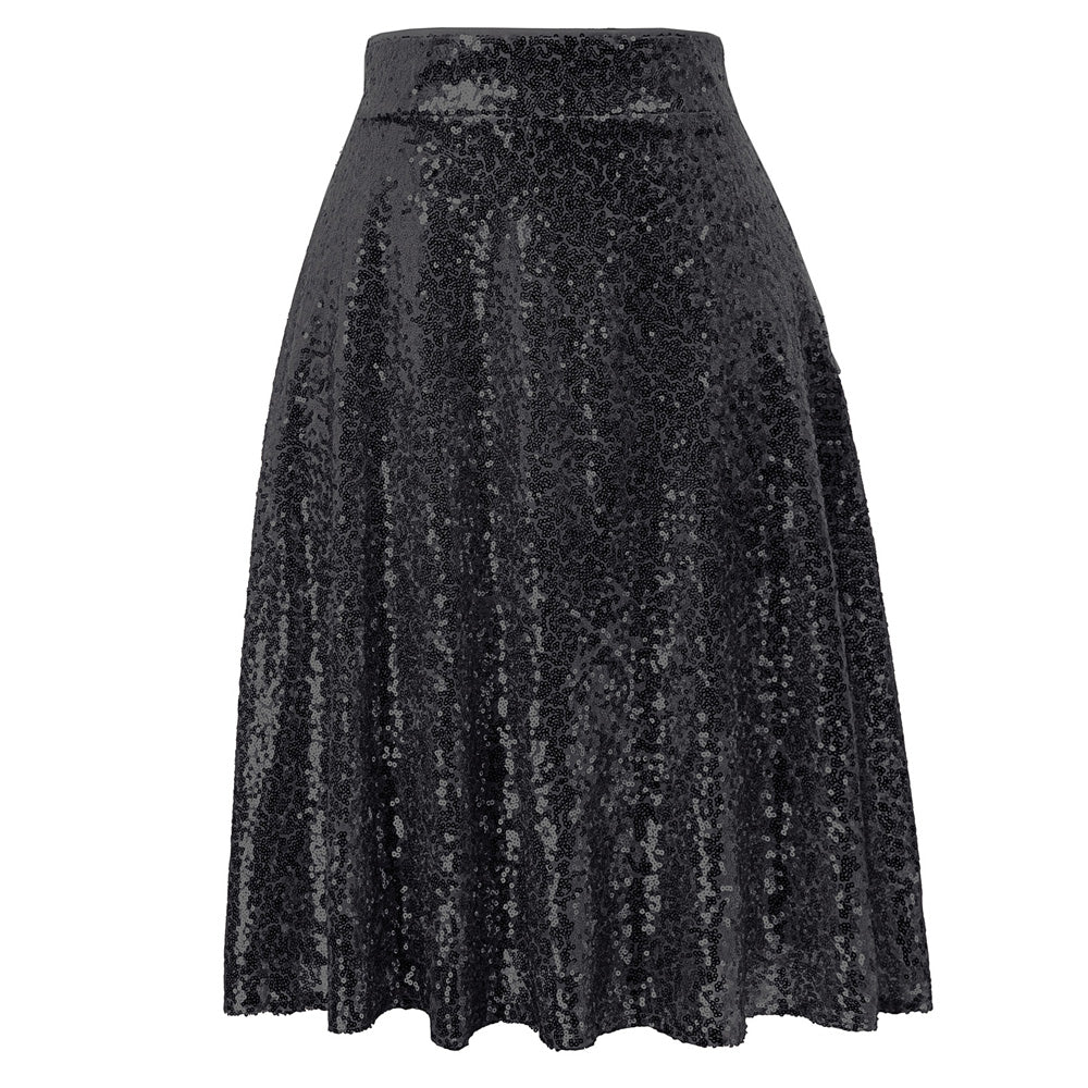 Grace Karin Sequined Skirt Flared A-Line Skirt