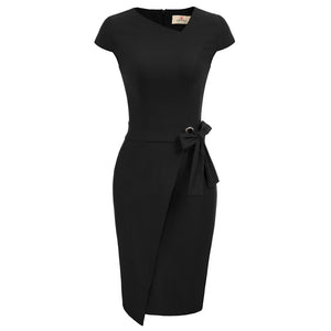 Grace Karin Cap Sleeve Irregular Neck Bodycon