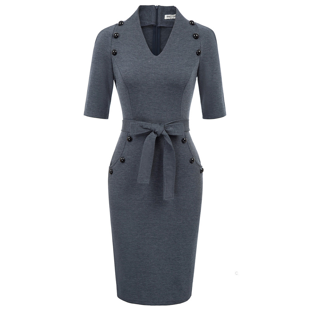 Grace Karin 1/2 Sleeve Buttons Decorated Bodycon