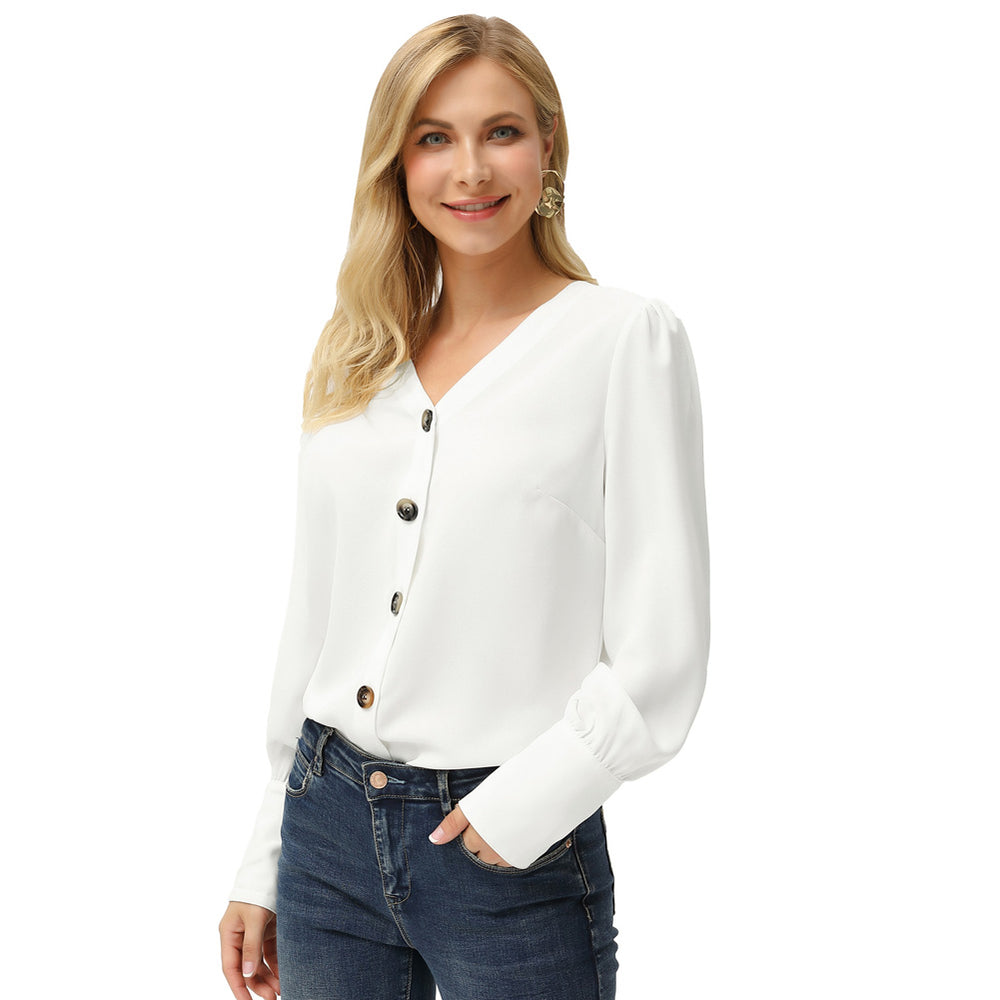 Grace Karin Curved Hem Button Up Blouse