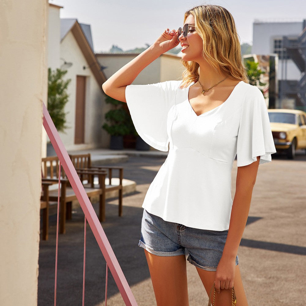 Grace Karin Bell Sleeve T-Shirt A-Line Short Tops
