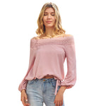 Grace Karin Off Shoulder Lace Crochet Decorated Tops