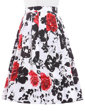 Load image into Gallery viewer, Grace Karin Retro Floral Cotton Pleated Skirt