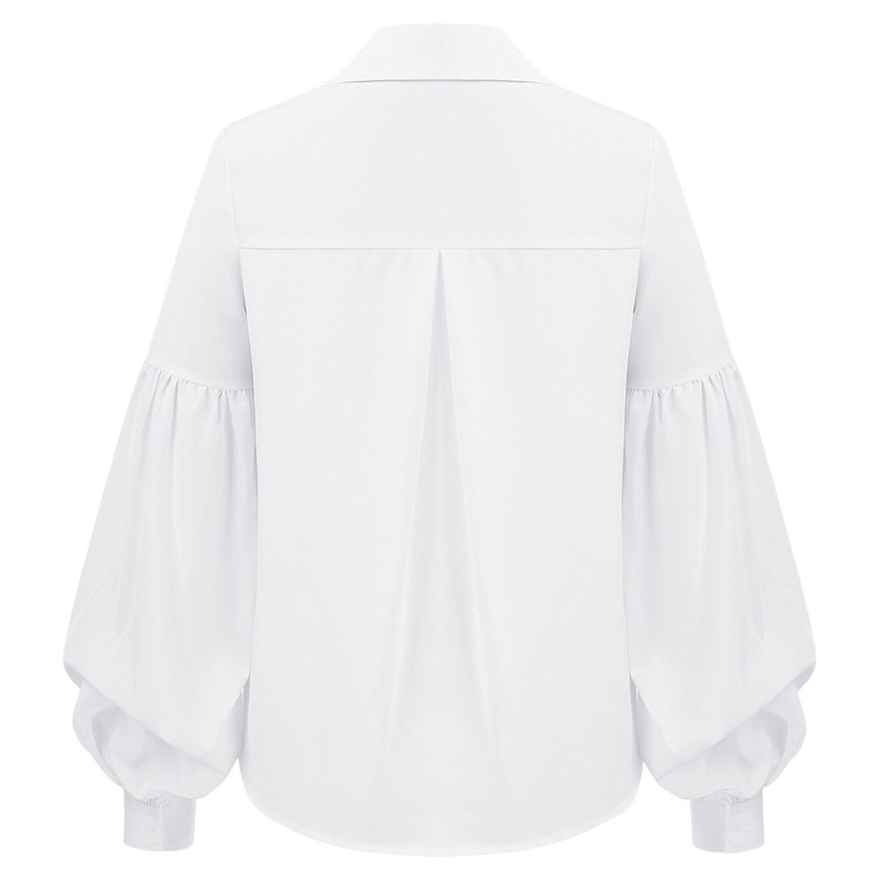 Grace Karin Curved Hem Button Placket Blouse