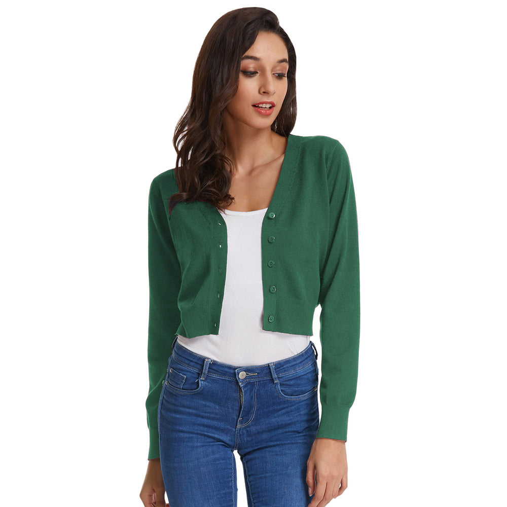 Grace Karin Point Sleeve Cropped Cotton Cardigan