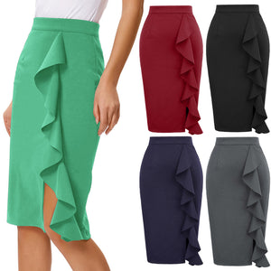 Load image into Gallery viewer, Grace Karin Ruffle Decorated Pencil Skirt