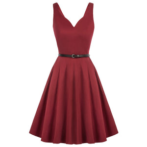 Grace Karin Sleeveless Cotton with Belt Flared A-Line Dress