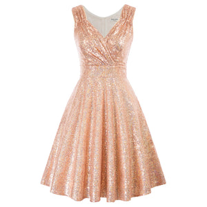 Grace Karin Sequined Sleeveless Flared A-Line Dress