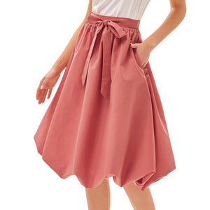 Grace Karin Bubble Hem Belt Flared A-Line Skirt