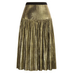 Grace Karin Shiny Metallic-Like Pleated Skirt