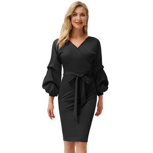 Load image into Gallery viewer, Grace Karin Lantern Sleeve Pleated Pencil Dress