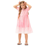 Grace Karin Girls Tiered A-Line Puffed Short Sleeves Crew Neck Casual Dress