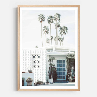 Print Workshop, Framed Print, Palm Springs Entrance, Natural Australian Oak Box Frame with White Border